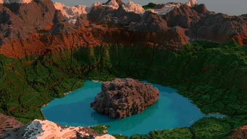 m1n3cr4ft:  PerpetualReduction's render of a crater lake map! view it in its full-sized glory here!