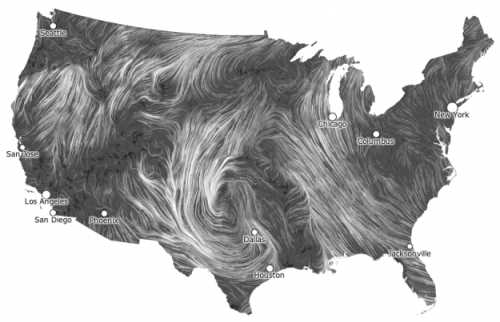 npr:  sunfoundation:  Live Wind Map Shows Flow Patterns  I get kind of giddy whenever I see a tweet from Martin Wattenberg and Fernanda Viegas. They rarely tweet, but when they do it's usually because they've released a new project and they always announce it simultaneously. Their latest piece shows live wind patterns, based on data from the National Digital Forecast Database. It's beautiful to look at.   Incredible.
