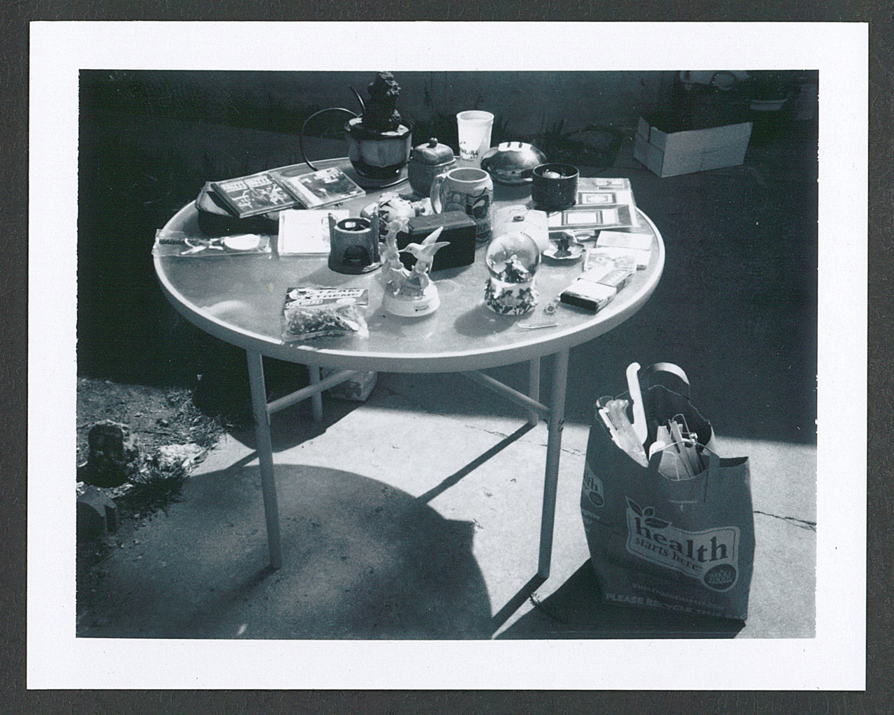 Polaroid black and white test. Yard sale #2