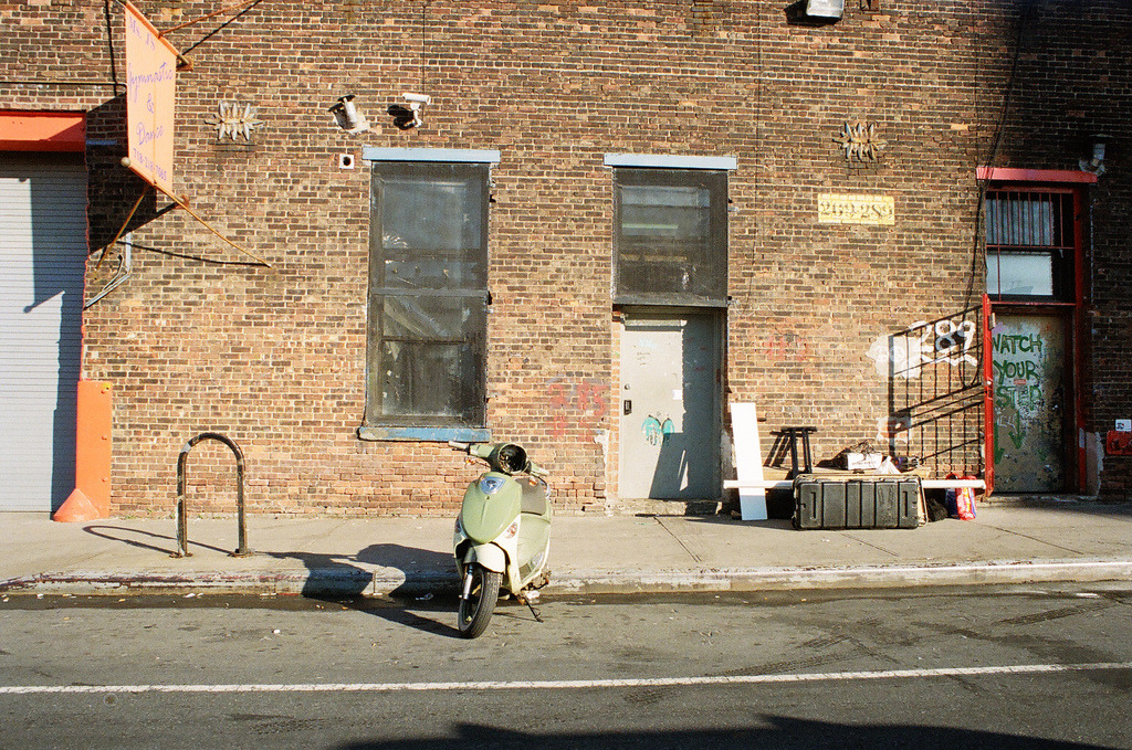 Watch Your Step / Vespa  Nikon F3 | Portra 400  Williamsburg, Brooklyn, NY