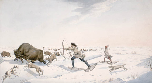 Indian Hunters Pursuing the Buffalo in the Early Spring. Credit: Library and Archives Canada, Acc. No. 1981-55-68 Bushnell CollectionCopyright: ExpiredArtist: Rindisbacher, Peter, 1806-1834.
