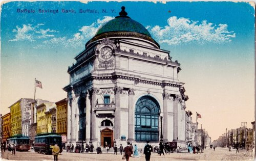 #Buffalo #BUF #WW1 Buffalo Savings Bank Postcard, circa 1910-15 This postcard was mailed from Buffalo to Forest, Ontario in January 1915. Notice the relative sizes of the newspapers and the child vendor near the steps of the bank.