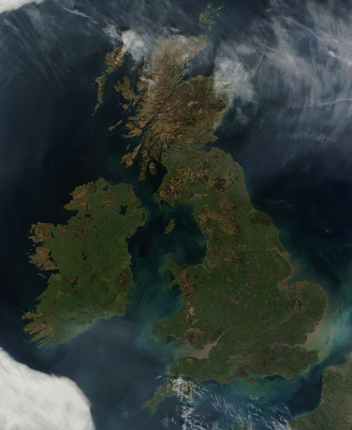 "Great Britain and Ireland by NASA Goddard Photo and Video on Flickr: This nearly cloud-free view of Great Britain and Ireland was acquired by the Moderate Resolution Imaging Spectroradiometer (MODIS) aboard NASA's Terra satellite on March 26, 2012. Just a few days into spring, most of the land appears green, although not quite as brilliant as the summertime hues that give Ireland the nickname ""the Emerald Island"". London can be seen as a gray circle situated inland on the tan-colored River Thames. Photograph: NASA/GSFC/Jeff Schmaltz/MODIS Land Rapid Response Team. Enlarged. via iamdanw. See also: British Isles under snow."