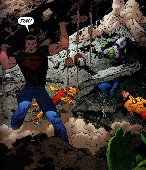 superprat:  everyone is lying dead in the background and the person Kon calls out for is Tim