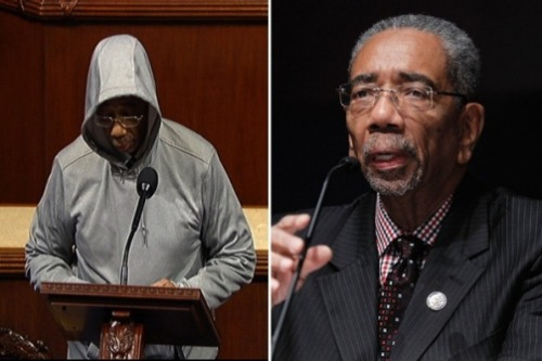 On Wednesday Bobby Rush (D-IL) wore a hoodie while speaking on the chamber floor in support of Trayvon Martin. He was booted for violating the dress code. What's the story?  Such passion for the Trayvon case could also come from Rush's personal life. In the fall of 1999, his 29-year-old son Huey was shot and killed in Rush's district in Chicago as the incumbent waged his campaign against Obama. The killer got 90 years in prison.  Read on (AP Photo; Pablo Martinez Monsivais / AP Photo)