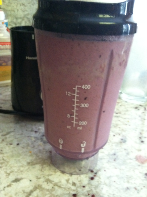 Blackberry blueberry mango protein shake :)  So delicious!