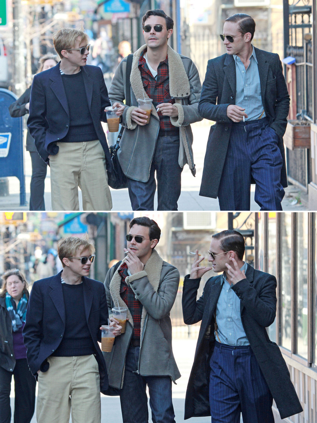 bohemea:  Dane DeHaan, Jack Huston & Ben Foster filming Kill Your Darlings in Brooklyn, March 19th 2012