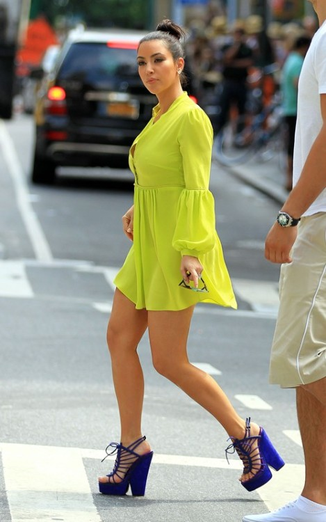 Block colour clash, lime green and purple heels