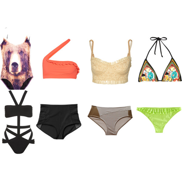 Swimwear by intoxicninja featuring a cut out bikini  Hervé Léger cut out bikini, £675Norma Kamali padded bathing suit, $285Swimwear, $95Adidas neon swimwear, $50Floral swimwear, $25Monki mesh swimwear, €8H m bathing suit, £7.99