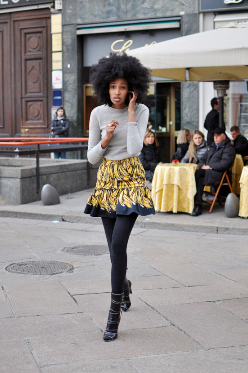 Julia Sarr Jamois sporting a brilliant banana print. Photo by Trendycrew.