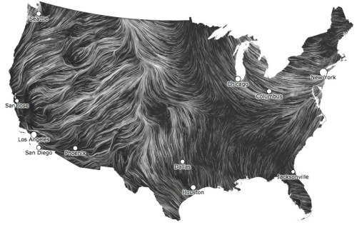 "jtotheizzoe:  unlikelywords:  Holy crap this wind map is gorgeous. Click the image so you can watch it move. ""This map shows you the delicate tracery of wind flowing over the US right now."" Via @anildash  You really need to click through and look at this. Orders of magnitude more amazing when you can watch it move in real-time. If you're feeling windy today, you should also check out this kinetic sculpture by Charles Sowers called ""Windswept"", made of 612 freely-rotating wind arrows. Stunningly hypnotic video:"