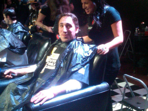 The things players do for charity.  Brad Marchand c/o Bruins twitter