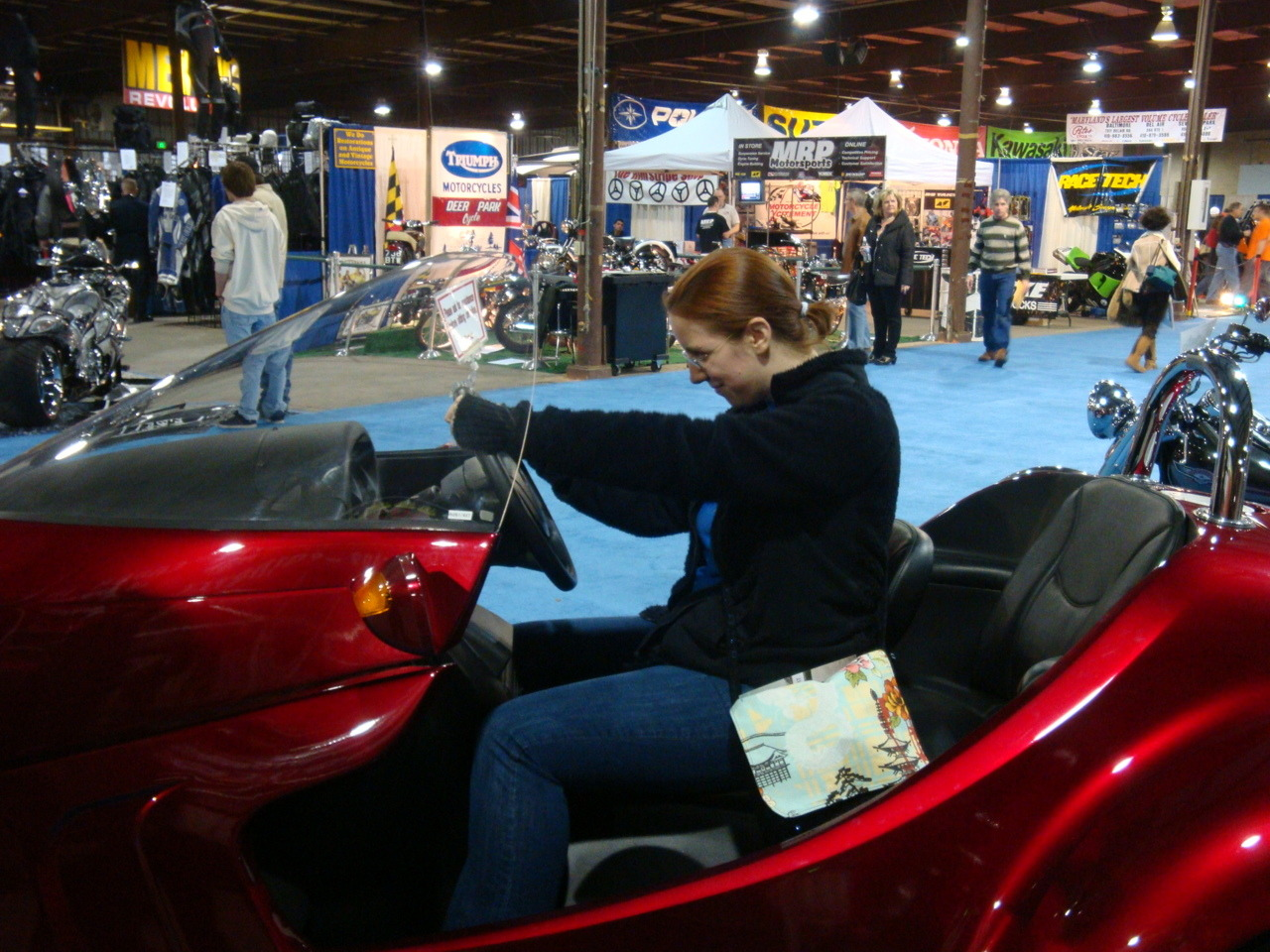 More bike show stuff. Sitting in a Stallion Motor Trike. (You can tell this was an old one of me, I'd only lost about 50 pounds when we went to this show)