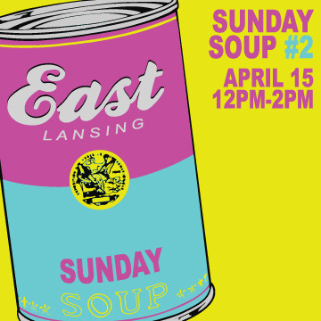 Soup is on, April 15th at (SCENE) MetroSpace from 12pm until 2pm. Sunday Soup is a community meal and micro-grant which provides funds for creative projects. Anyone who needs help funding their artistic project is welcome to submit a proposal. Everyone in attendance will vote on the proposal they like the most. Admission is $5. Please, if you can, RSVP on Facebook. Hosted by (SCENE) MetroSpace: 110 Charles Street, East Lansing, MI 48823 Free parking in the garage across the street and the lot behind (SCENE). For more information, please click here. Artists wishing to submit a proposal, please click here. If you have any other questions, please direct them to luke@retroduck.com. Thank you!