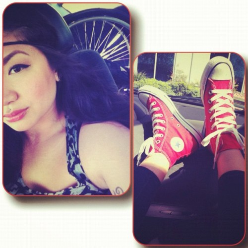 stephielicious:  Just me my wheels♿and chucks ❤ #wheelchair #converse (Taken with instagram)