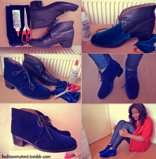 How to Recycle old shoes and add a Velvet Layer  http://fashionmutant.tumblr.com/