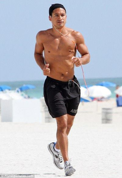 why doesn't he age? AC Slater…I mean Mario Lopez jogging on the beach in Miami today…