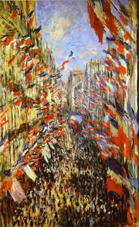 the-happy-obelisk-art:  Claude Monet - Rue Montorgueil in Paris, Festival of 30 June 1878  1878, Oil on canvas, Musée d'Orsay, Paris, France