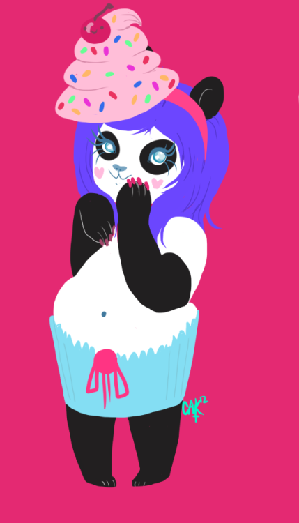 OK, I DREW A PANDA DRESSED AS A CUPCAKE, THIS WAS FUN.