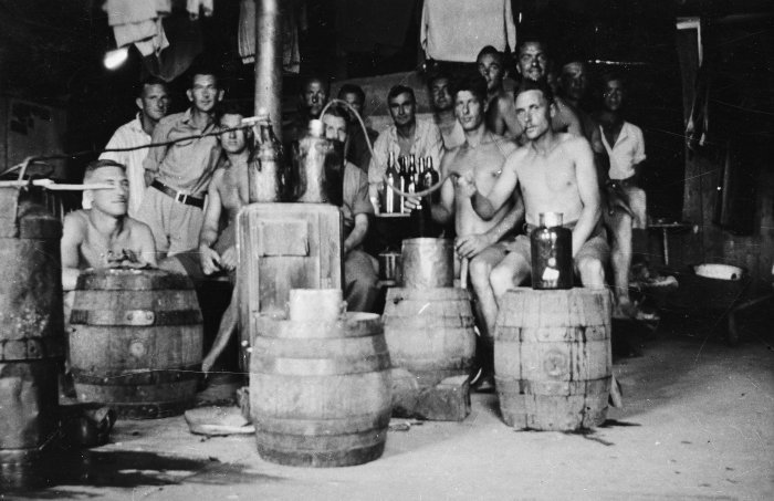 Secret distillery at Stalag 18A, a German prisoner of war camp in Wolfsberg, Austria, circa 1944.