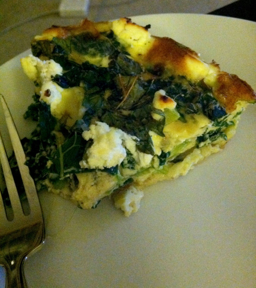 Herbs + Leeks + Greens + Goat Cheese + Eggs + Egg Whites = Quiche. Really good quiche. 98 calories per serving9g carbs4g fat8g protein 1g fiber2g sugar Adapted from Vegetarian Times to make it more me-friendly.