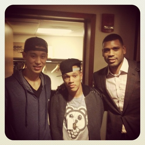 3/28/12 Fan Pic Of The Day - Trip Lee and Allen Houston with Jeremy Lin after the Knicks win tonight.