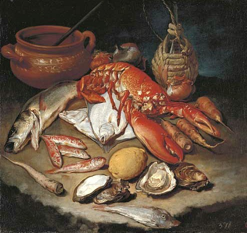 stilllifequickheart:  Giacomo Ceruti, il Pitochetto Still Life with Lobster 18th century  Hmm, lobster and fish, yum…