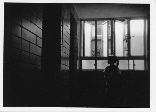 #9(#151) print - Elevator waiting on Flickr.Eastman Double X 5222 @400, Holga 135BC Arista EDU Ultra RC VC glossy 5x7