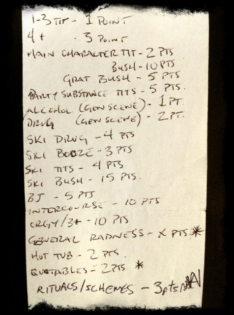 The original, handwritten Ski Bush Points System.
