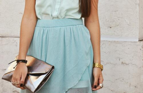 asymmetrical hem skirts and mint green i love ♥♥♥