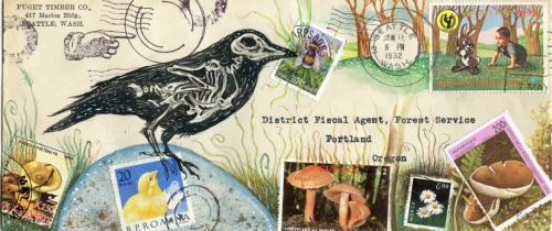 crow on egg, mushrooms, party, gouache, 2012 mail art, original envelope and postcrd prints available on Etsy (eyefun) inkhead