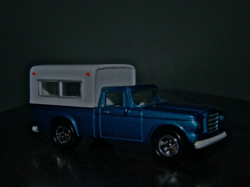 1960s Studebaker Champ pickup and Alaskan camper by Johnny Lightning, in 1/64 scale. Darkened lighting intentional… And Tumblr sees this pic before any other site…