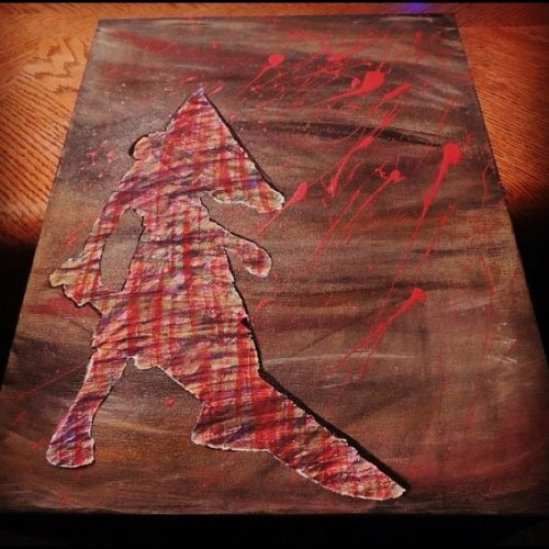 #painting #art #canvas #pyramid #head #pyramidhead #horror #blood #movie #creature #evil #dark #colorful #sword #monster (Taken with instagram)