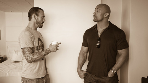Another shot of CM Punk and The Rock hanging out today. If Punk is asking for Rocky to hook him up with tickets to the GI Joe movie premiere later this summer it doesn't look like the invite is in the mail just yet.