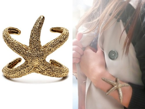 DIY Polymer Clay Bimba and Lola Starfish Cuff. Photo Left: Bimba and Lola Starfish Cuff here (sold out, not available in US), Photo Right: DIY by Dream, Create using silicone molding putty and polymer clay. She used a starfish from a crafts' store and the closeup results are amazing. Tutorial by Dream, Create here.