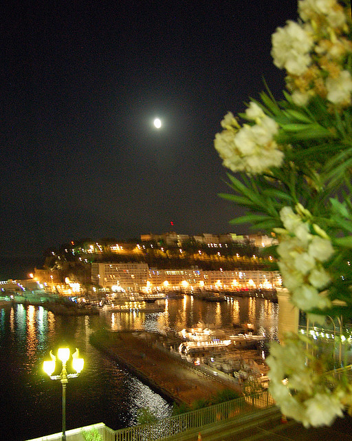 | ♕ |  Moon over Port Hercules - Monte Carlo, Monaco  | by © Brent Scheneman