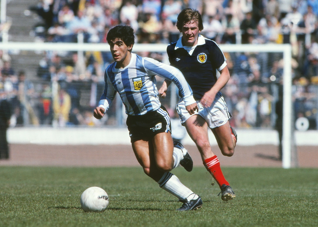 18-year-old Diego Maradona v Kenny Dalglish, 1979.