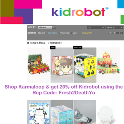 MEN! Shop Kidrobot Karmaloop.com & get 20% off today using Rep Code: Fresh2DeathYo