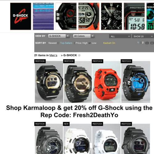 MEN! Shop G-Shock Watches @ Karmaloop.com & get 20% off today using Rep Code: Fresh2DeathYo