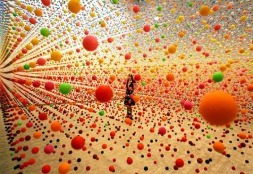 Nike Savvas :: ATOMIC: full of love, full of wonder. How can you not love an art installation of suspended bouncy balls?