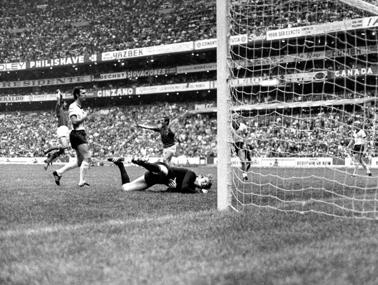 After Rivera's goal against West Germany, World Cup 1970.