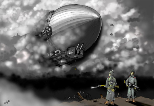 Tirpitz over the Western Front, 1928 (for Mac) by ~moknin Set the contrast lower for Mac usersMy first digital painting by photoshop! I surprised myself by finishing it in only 5 days instead of weeks as I thought I am new to this mediumLast year I had this idea of a Flash game set in an alternative 1928 where WW1 never ended and both side developed fleet of heavily-armed airships to break the stalemate on land. Although it never materializes, the images of gigantic flying battleship was always in my head. Afterall I just like to play with what give the impression of BIG and HUGE. Zeppelin or otherwiseTirpitz over the Western Front, 1928My first digital painting by photoshop! I surprised myself by finishing it in only 5 days instead of weeks as I thought I am new to this mediumLast year I had this idea of a Flash game set in an alternative 1928 where WW1 never ended and both side developed fleet of heavily-armed airships to break the stalemate on land. Although it never materializes, the images of gigantic flying battleship was always in my head. Afterall I just like to play with what give the impression of BIG and HUGE. Zeppelin or otherwiseSpeak of the abandoned game project, how about some background info? I feel like typing shit anyway:The 'Tirpitz' is the first ship in the Kaiserliche Luftflotte (Imperial Air Fleet), which was founded as a solution to the ever-thickening Allied trenchs accumulated in a decade of war. She participated in the gas bombardment on London, intended to demoralize Allied leadership. Instead it compelled the Allies to develop its own air fleet. As the design began to show its age she was reassigned to Berlin to terrorize endless food rioters and rioting workers, to patrol against arms struggles from Trotsky's Bolshevik Russia and anarchist collectives in Spain.The soldiers are from the Landwehr reserve, seen from their old uniform. However the guy in the left is carrying a standardized K-98AZ carbine (the G-98 was phased out due to its cumbersomeness). His comrade is carrying an old MG-08/15, which is being phased out for the air-cooling MG-08/26.