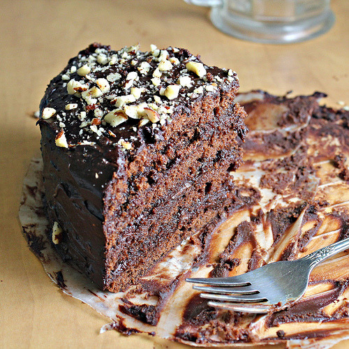 "Looking this Mouth watering chocolate cake makes my stomach *crumble :"">"