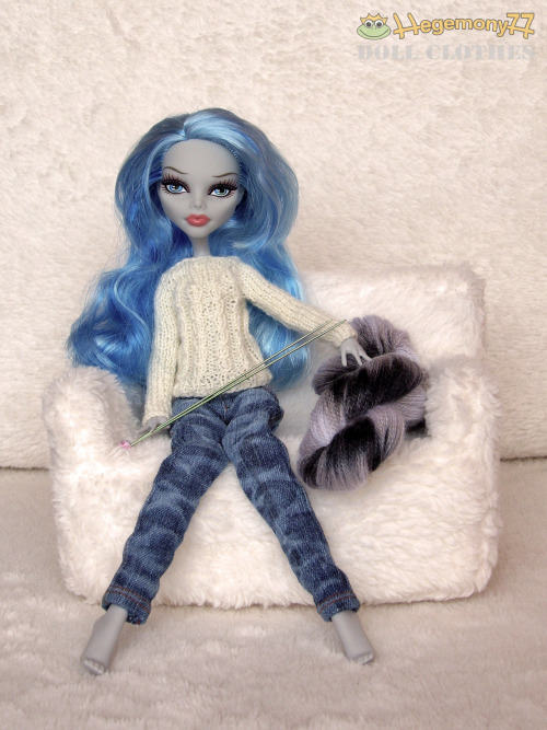 Monster High doll with hand dyed white black yarn ready to knit