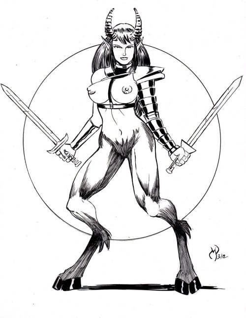 Satyr Warrior Inks by *powguero