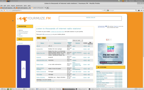 Yourmuze.FM is a free service that allows you to listen to any radio station that broadcasts over the internet using any regular web browser or mobile device. Yourmuze is not just a directory of stream links - it actually converts the radio stations original stream to a format that the users device / browser understands.