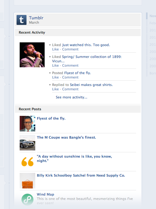 "Sharing your posts on Facebook just got a billion times better, with integration into Facebook's Timeline, News Feed, and Ticker. New options include: Toggle ""Send to Facebook"" when posting. Share Replies on your Facebook Timeline. Share Likes on your Facebook Timeline.(They even get lumped together so they're not overwhelming!) You can find the new options in your blog settings. If your blog is already connected to Facebook, you'll be automatically prompted to upgrade."