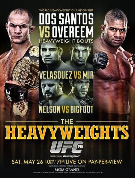 Heavyweight Championship bout: Junior dos Santos vs. Alistair Overeem  Heavyweight bout: Cain Velasquez vs Frank Mir  Heavyweight bout: Roy Nelson vs Antonio Silva  Heavyweight bout: Gabriel Gonzaga vs Shane del Rosario