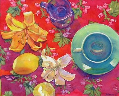 Still Life on RedWatercolor on Paper18 inches x 24 inchesSold  A colorful still life with lilies, lemons, teacup, and vase on a red patterned background. You can also see my work on www.dailypaintworks.com and you can purchase cards and prints of this painting on my etsy shop, www.etsy.com/shop/linneatobias.     Beautiful watercolor series of still life by Linnea Tobias