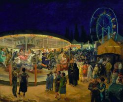 """The last night of the fair  By the big wheel generator A boy is stabbed And his money is grabbed And the air hangs heavy like a dulling wine She is Famous She is Funny An engagement ring Doesn't mean a thing To a mind consumed by brass (money) And though I walk home alone I might walk home alone ……But my faith in love is still devout The last night of the fair From a seat on a whirling waltzer Her skirt ascends for a watching eye It's a hideous trait (on her mother's side)From a seat on a whirling waltzer Her skirt ascends for a watching eye It's a hideous trait (on her mother's side) And though I walk home alone I might walk home alone … …But my faith in love is still devout""  belaquadros:  Travelling Carnival - John Sloan - 1924"